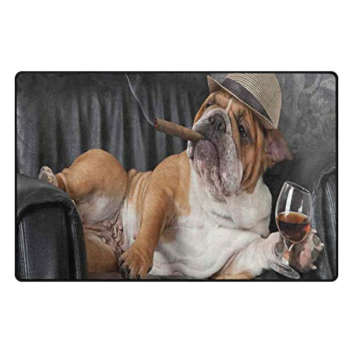 Price comparison product image YOLIKA Non-Slip Area Rugs Humorous Photo of A Gentleman Dog Resting Chair with Glass Drink and Ciga Print Floor Mat Living Room Bedroom Dinning Kitchen Carpets Doormats