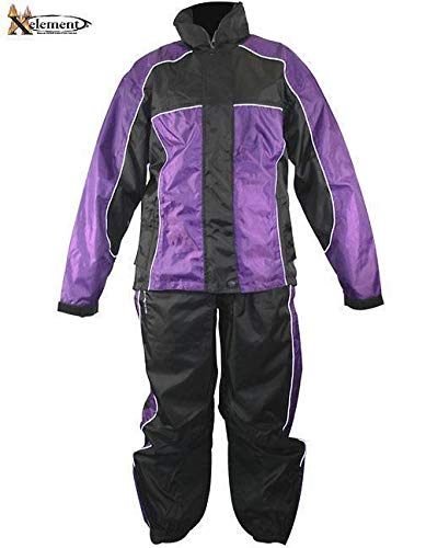 - Xelement RN4764 Women's Black/Purple 2-Piece Motorcycle Rain Suit - Medium