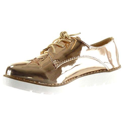 Zeppa Scarpe Sneaker 3 Donna Scarpa Angkorly Di Champagne Lucide Derby Stella 5 Tacco Paillette Suola Moda Cm BSw7A4dqH