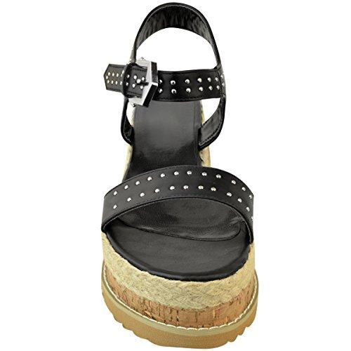 Fashion Talon cuir noir Thirsty Été compensé Haut Compensé Clous Plateforme Imitation Espadrilles à Plate Femme rgrxCqX7