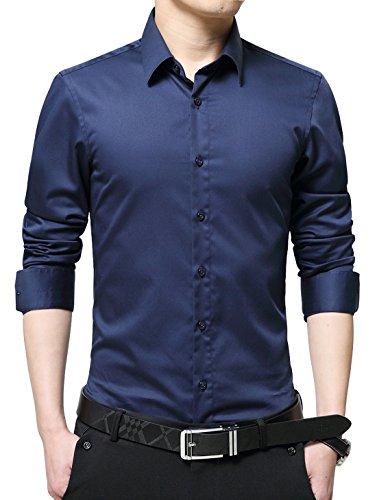(XTAPAN Men's Business Slim Fit Long Sleeve Button Down Mercerized Cotton Dress Shirt Dark Blue Asian XL=US XS 1586)