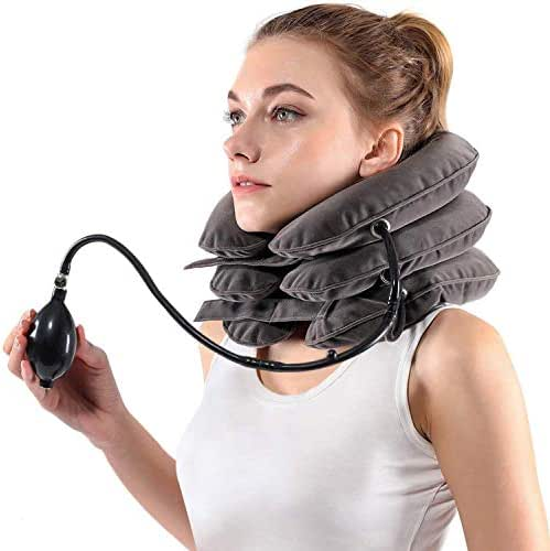 Inflatable Cervical Neck Traction Device & Collar Brace by Siwei for Instant Neck Pain Relief [FDA Approved] - Adjustable Neck Stretcher Cervical Traction Collar for Home Traction Decompression