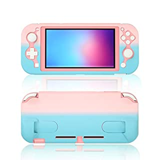 Protective Case for Nintendo Switch lite, Grip Case for Nintendo Switch lite with Kickstand - Pink Blue