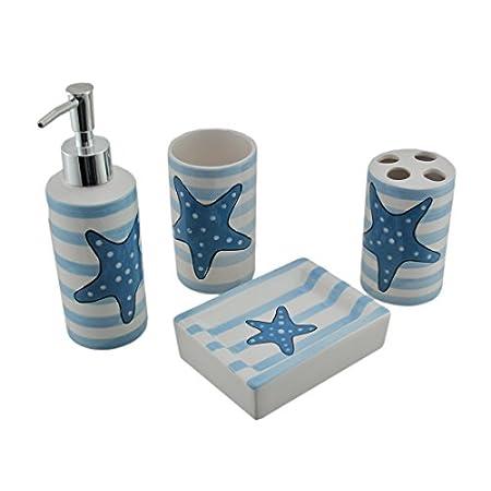 41gybX%2BJN9L._SS450_ 50+ Beach Bathroom Accessory Sets and Coastal Bathroom Accessories