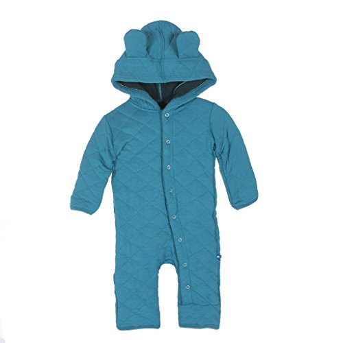 (Kickee Pants Baby Boy Quilted Hoodie Coverall with Ears Prd-kpqca125-baypn, Bay with Pine, 3-6 Months)