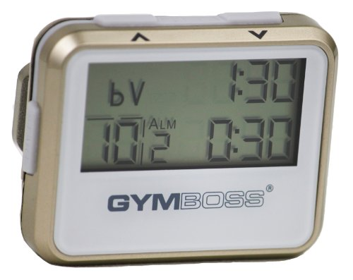 Pager Belt Clip - Gymboss Interval Timer and Stopwatch - GOLD / WHITE METALLIC