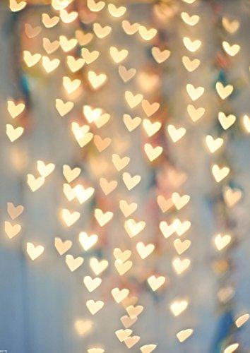 DODOING 5x7ft Valentine Day Photography Backdrop Blinking Heart-Shaped Light Background Glitter Gloden Bokeh Heart Photo Studio Background Props for Baby Children Newborn Birthday -