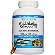 Natural Factors - OmegaFactors Wild Alaskan Salmon Oil, Supports Brain Function and Heart Health while Supporting Already Normal Cholesterol Levels with Omega-3 EPA and DHA, 180 Softgels