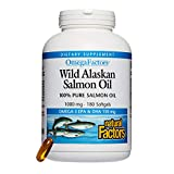 Natural Factors – Wild Alaskan Salmon Fish Oil 1000 mg, Omega-3 EPA and DHA, 180 Softgels For Sale