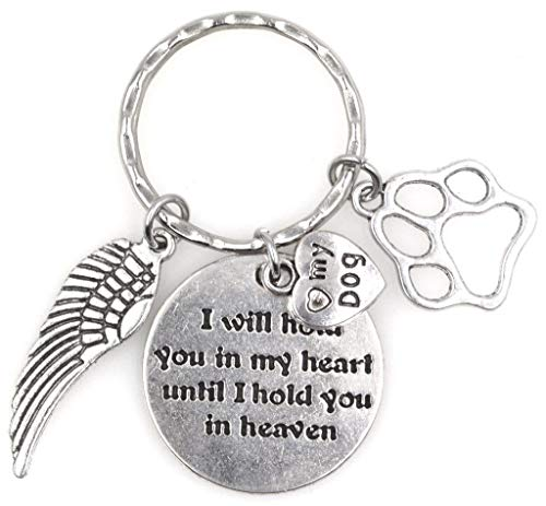 (I Will Hold You in My Heart Until I Hold You in Heaven Angel Wing Pet Puppy Paw I Love My Dog Keychain 114P)