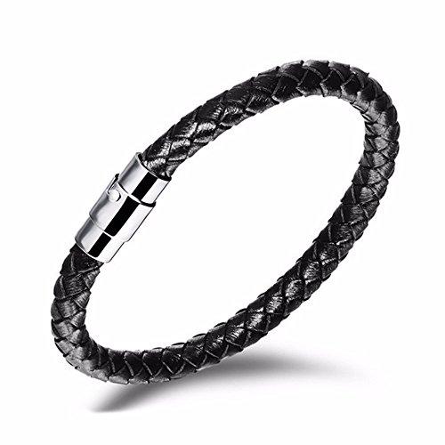 Black Braided Weave Leather Bracelet with Steel Clasp (9 (Mens Designer Bracelet)