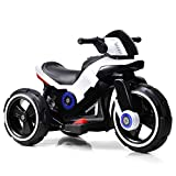 Costzon Kids Motorcycle 6V Bicycle 3 Wheels Battery Powered W/ MP3 for Boys & Girls, Children Electric Ride on (White & Black)