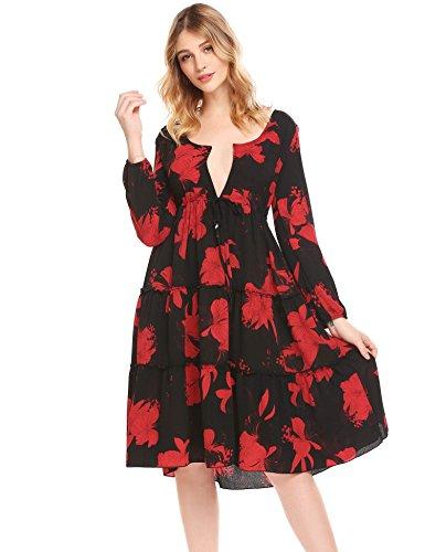 Print Long Sleeved Dress (Unibelle Women Floral Print Sleeve Sexy Deep V-neck Tunic Top Casual Mini Dress Black M)