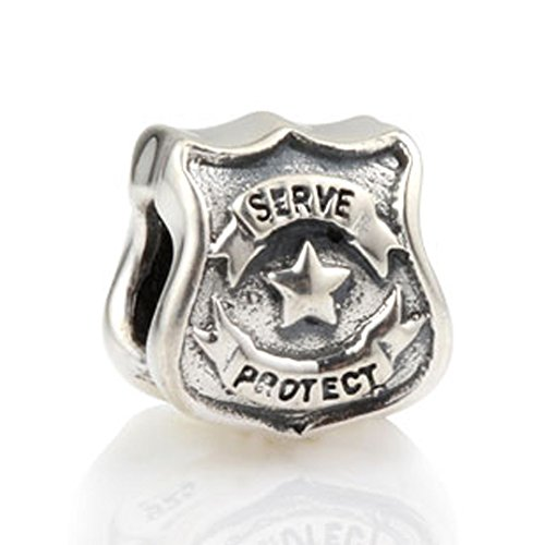 Protect Serve Police Officer Badge Charm - 925 Sterling Silver - Fit European Charm Brcaelet (Officer Shield)