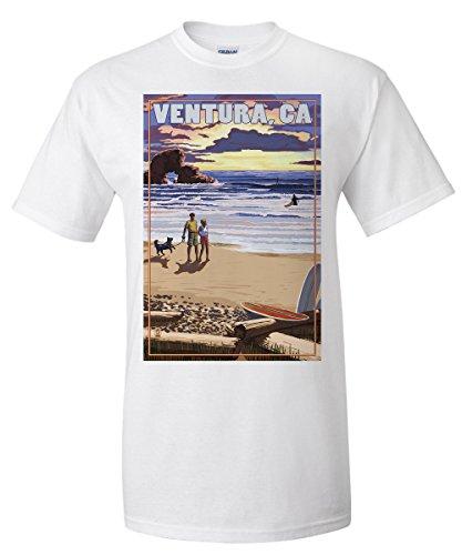 Ventura  California   Surfing Beach Scene  White T Shirt Xx Large