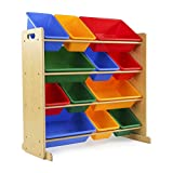 toy room ideas Tot Tutors Kids' Toy Storage Organizer with 12 Plastic Bins, Natural/Primary (Primary Collection)