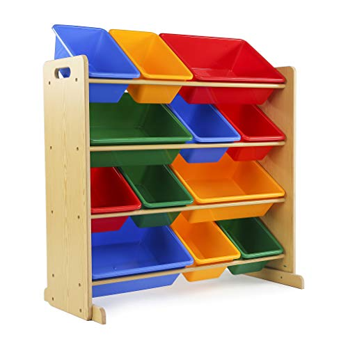 Tot Tutors Kids' Toy Storage Organizer with 12 Plastic Bins, Natural/Primary (Primary - House Bookshelf Doll