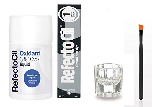RefectoCil Pure Black Cream Hair Dye and Liquid Oxidant 3%  1.7 oz., Color Kit with Mixing Brush and Dish