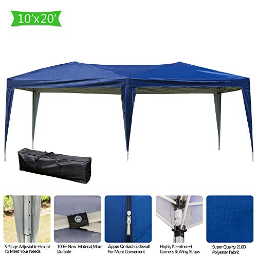 - Heavy Duty Foldable Gazebo Canopy Tent Waterproof with Carry Bag, 10 x 20 Feet Party Wedding Outdoor Patio Beach Tent Shelter Sunshade (US Stock)