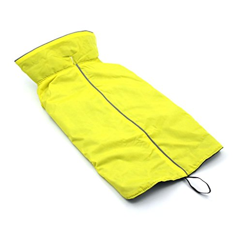 ThinkPet Hundejacke Wasserdicht Reflektierend, Regenjacke Hundebekleidung, M, Gelb