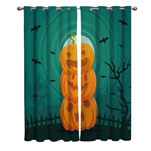 OUR WINGS Halloween Bat at Night Blackout Curtains Living Room Bedroom Light Blocking Window Curtains Room Darkening Curtain Panels Thermal Insulated Grommet Top Drapes 52