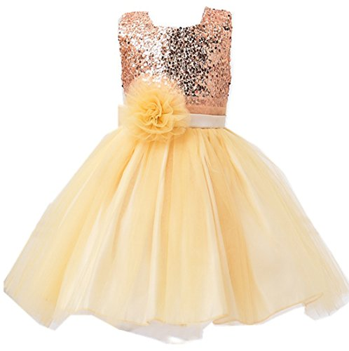 Cheap Little Girl Dresses (Kids Showtime Little Girl Baby Special Occasion Sequins Flower Dress(Gold,8Y))