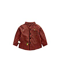 Fairy Baby Infant Baby Boys Girls Outfit Cute Bear Grid Tops Buttons Down Shirt