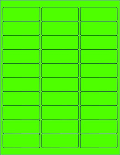 ACE Label 100-Sheets 8.5 x 11-Inch 30-Up Labels, 3000 Labels (Fluorescent Green)