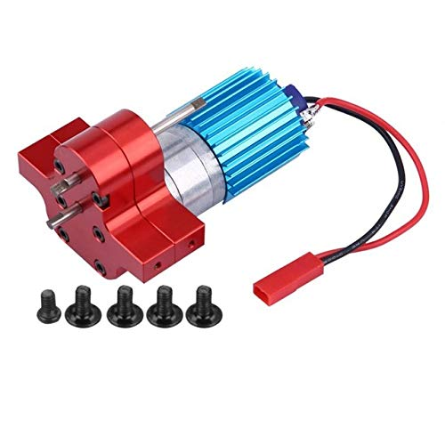Studyset Speed Change Gear Box Metal Gearbox with 370 Brush Motor Anodizing Treatment for Heatsink Mount Base for WPL 1633 RC Car red (Brush 370 Motor)