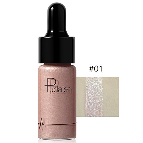 Doinshop Highlighter Liquid Make Up 12 Colors Concealer Shimmer Face Glow Cream (A)
