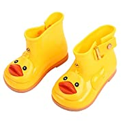 Cute Baby Girl Rain Boots Soft Anti-slip Toddler Rain Shoes Summer with Cartoon Duck (24, Yellow)