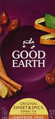 Good Earth Sweet and Spicy All-Natural Caffeine-Free Herbal Tea, Pack of 6 w/ 25 Tea Bags per Box by Good Earth
