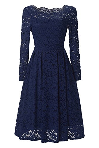 Ankosen Women's Vintage Floral Lace Long Sleeve Boat Neck Cocktail Formal Swing Dress Blue L