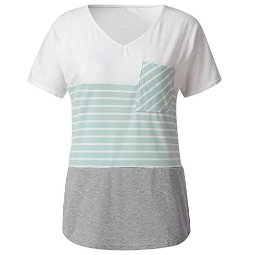 (Aunimeifly Woman's Stitching Pocket Short Sleeve T-Shirt Stylish Stripe Contrast Shirt Ladies Casual V-Neck Top Green)