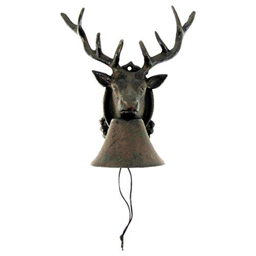 TG,LLC Metal Wall Mount Call Bell 8 Point Antler Buck Deer Cabin Lodge Home Door Decor