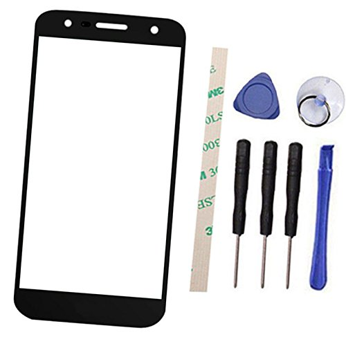 Outer Screen Front Glass Lens Replacement for LG X Power 2 M320G M320TV M320F M320N X320L X320S/ LV7 Fiesta L63BL L64VL K10 Power (Not LCD and Not digitizer) with Adhesive (Black)