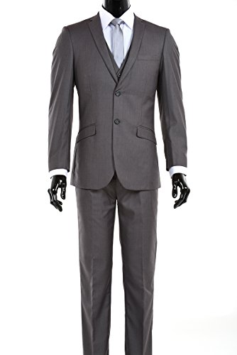 Elegant Men's Slim Fit Two Button Three Piece Suit (40 Long, Dark Gray) (Suit Three Piece Button 2)