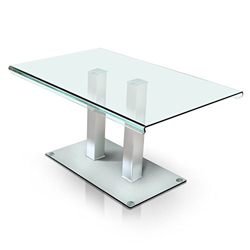 HOMES: Inside + Out IDF-3362T Silver Listoll Contemporary Glass Dining Table