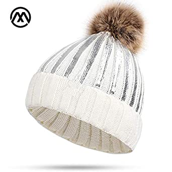 3c73b69a2ce8a9 World 2 home New Winter Knit Cotton caps Ladies Bright Sparkling Unisex Hats  Warm and Comfortable Raccoon Fur pom-poms Women Brand Female: Amazon.in: ...