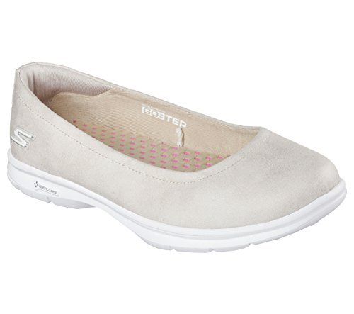 Skechers Women's GOstep Distinguished Ballet Flat,Natural,US 7.5 (Athletic Ballet Flats)