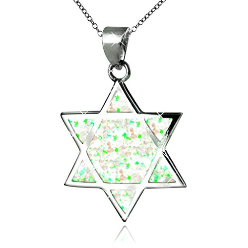Sterling Silver Created White Opal Star of David Pendant Necklace, (Opal Star Of David Necklace)
