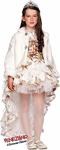 Italian Made Baby & Older Girls Deluxe Christmas White Winter Pageant Queen Carnival Halloween Burlesque Fancy Dress Costume Outfit 0-10 years (7 years)]()