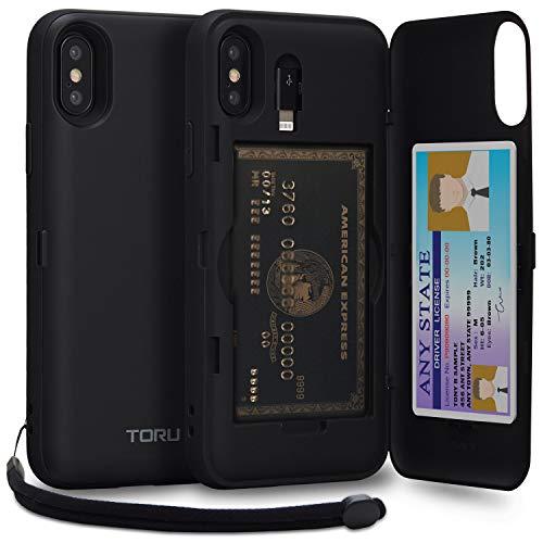 Black Matte Case Card - TORU CX PRO II iPhone Xs Wallet Case Black with Hidden Credit Card Holder ID Slot Hard Cover, Strap, Mirror & Lightning Adapter for Apple iPhone Xs (2018) / iPhone X (2017) - Matte Black