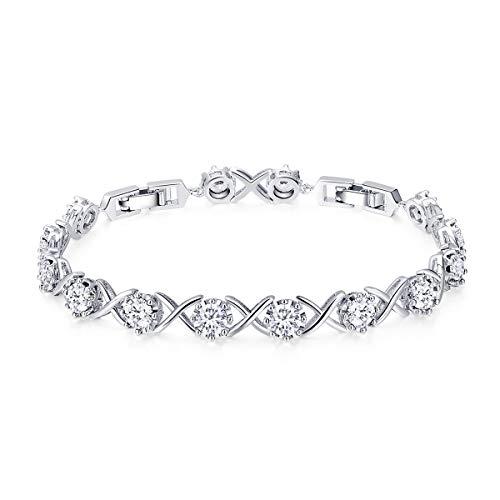 - WOSTU Women Tennis Bracelets Platinum Plated Infinity XO Link Cubic Zirconia Bracelets Gifts for her