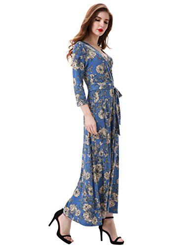 Faux Blue Aphratti Dress Belt Vintage Women's 3 Long Wrap Sleeve Maxi 4 with TXUTaZ