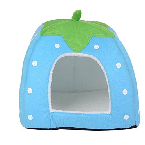 bluee M bluee M GCHOME dog bed Pet Bed Printing Short Plush Dog House Waterproof Anti-slip Four Seasons Universal Soft Comfortable Cool Breathable (color   bluee, Size   M)
