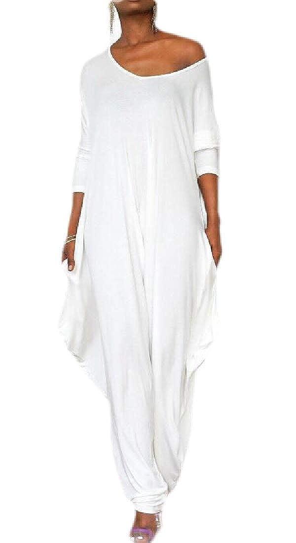 Easonp Womens Long-Sleeve Backless V Neck Harem Loose Romper Pants Jumpsuits White XL