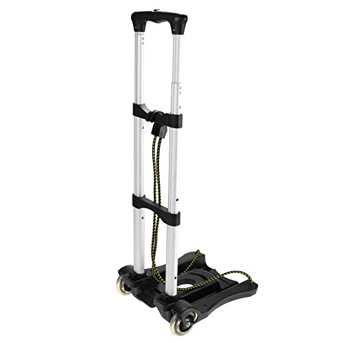 77lbs Folding Trolley Cart Portable Lightweight Travel Hand Truck with 2 Wheels - Harbor Shopping Inner