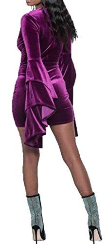 Cruiize Femmes Velours Manches Flare Moulante Couleur Unie Profonde Mini-v-cou Robe Violette