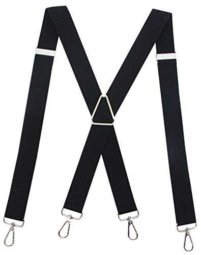 Calvertt Suspenders for Men - X - Shape Belt Loop Elastic Suspenders (Black)